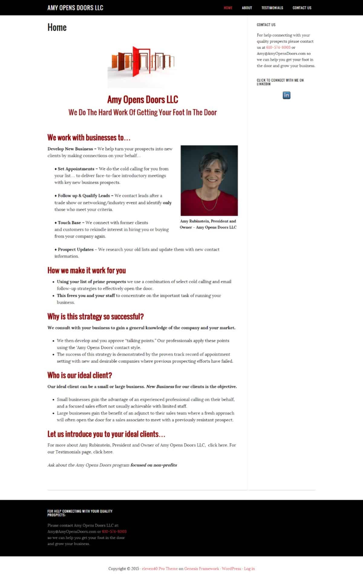KIS Web Design Amy Opens Doors Website